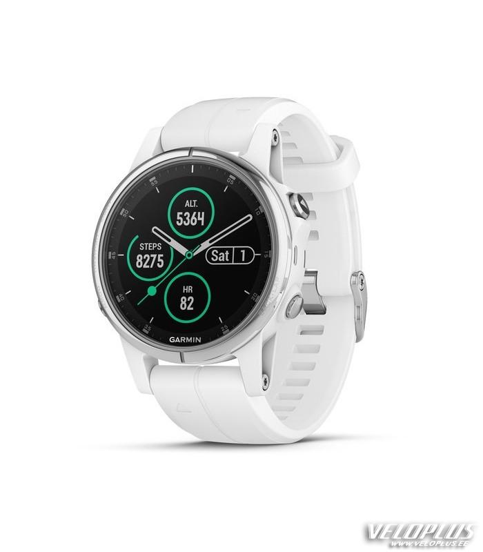 f848fa165af GPS spordikell Garmin fenix 5S Plus Sapphire valge rihmaga | Veloplus