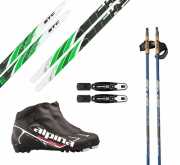 XC skis set for beginners with bindings, boots and poles