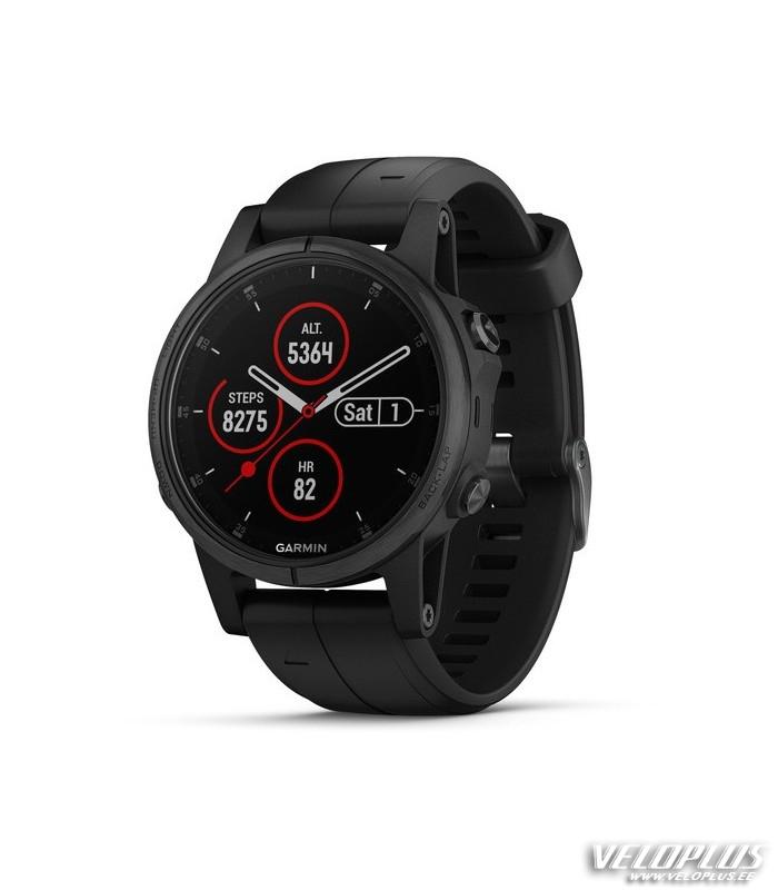 98b8d1dfd71 GPS spordikell Garmin fenix 5S Plus Sapphire musta rihmaga | Veloplus